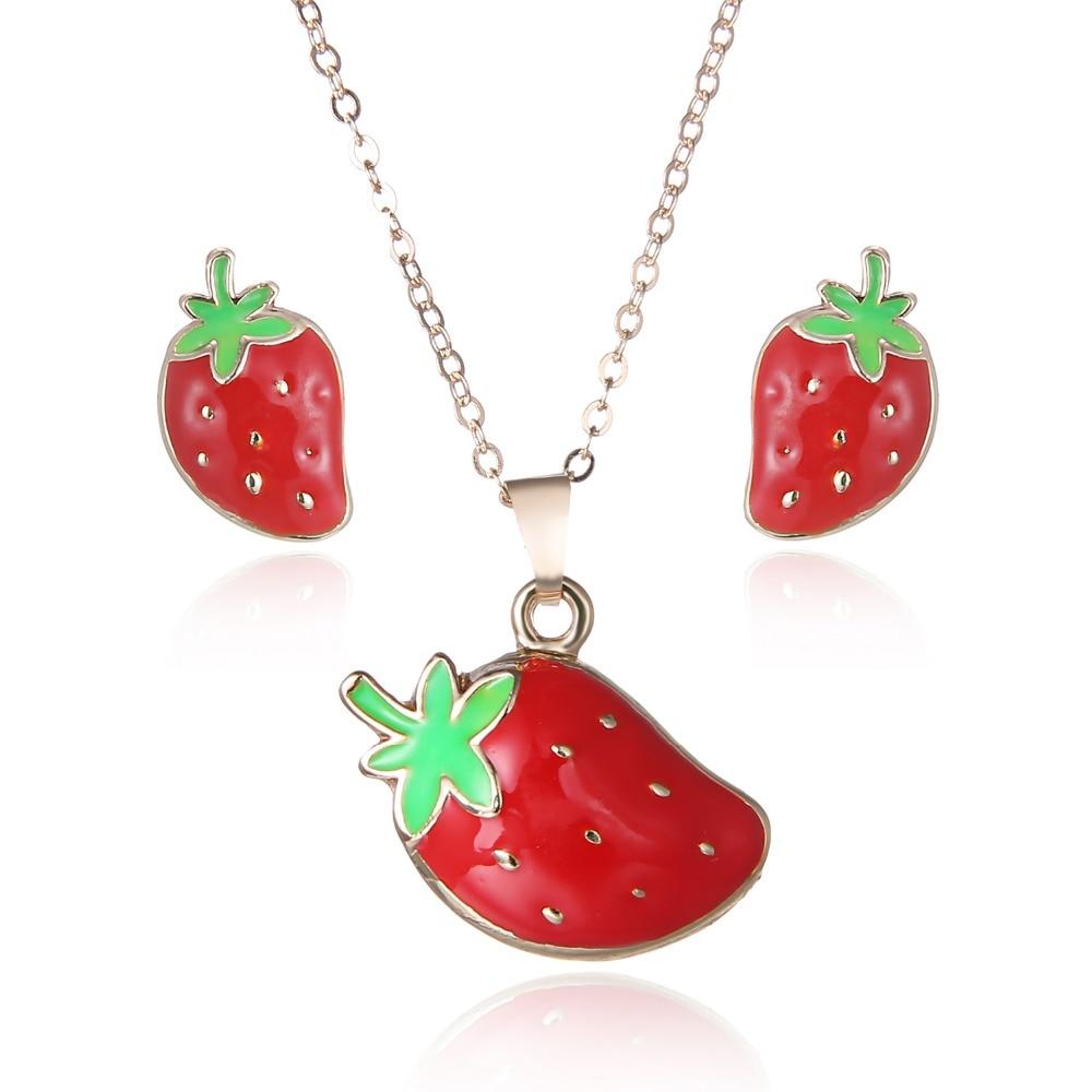 Hot Spring Drop Women Jewelry Sets Necklace Earrings Set Cute Strawberry  Kids Gift Wedding Bride Jewelry