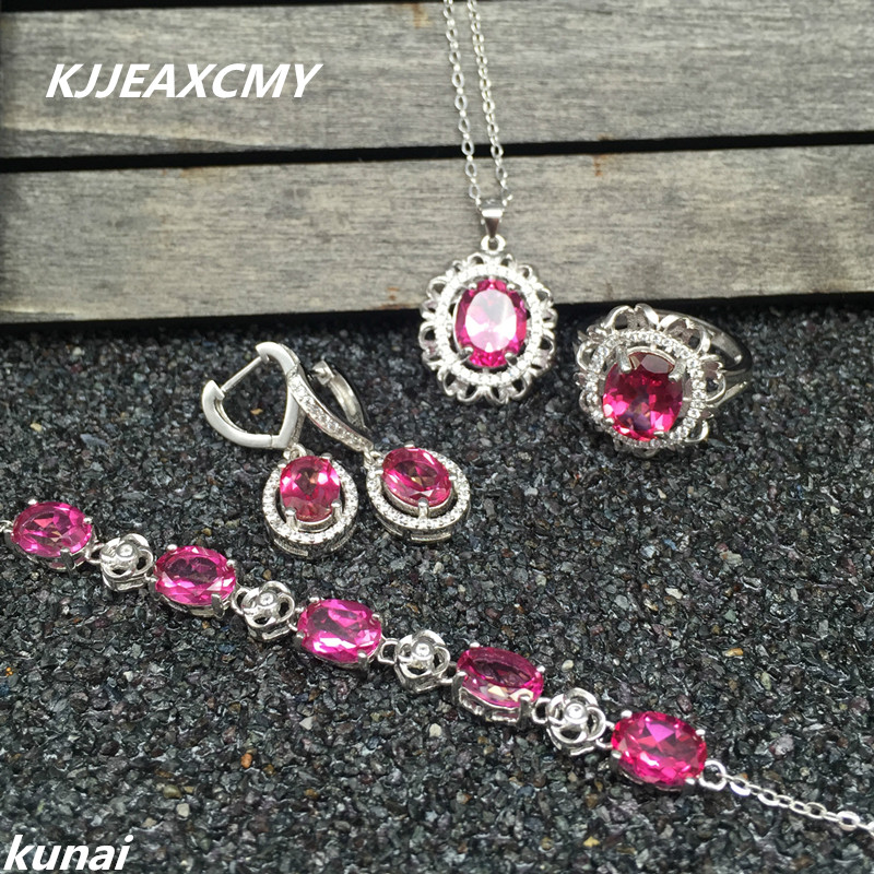 KJJEAXCMY Fine jewelry, 925 silver inlay natural Topaz powder suits simple and elegant women wholesale