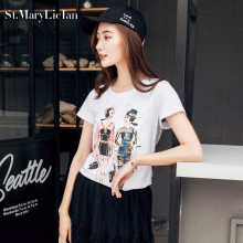 St.MaryLiclan Fashion girl Women T Shirts Short Sleeve Cotton Casual T-Shirts Female printed letter Character Tops Tee