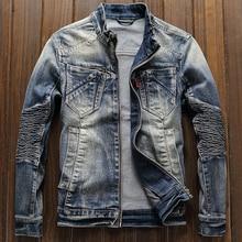 цена Free Shipping Mens Biker Jeans Jacket Coats XXXL Streetwear Brand Designer European Style Man Denim Coats XXXL Overcoats A199 онлайн в 2017 году