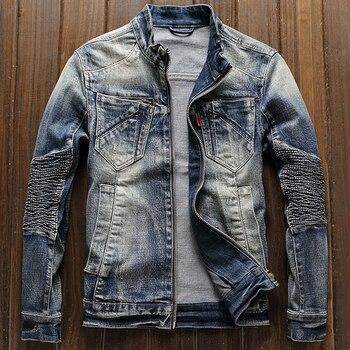 Free Shipping Mens Biker Jeans Jacket Coats XXXL Streetwear Brand Designer European Style Man Denim Coats XXXL Overcoats A199
