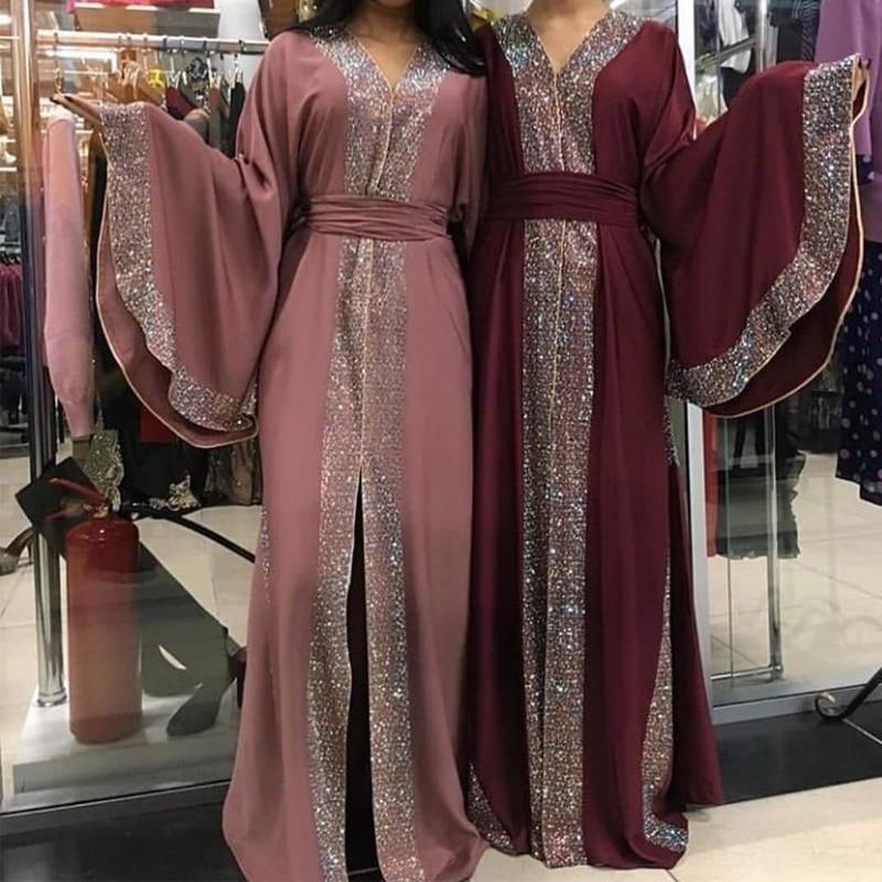 Red Diamonds Muslim Abaya Kimono Arabe Kaftan Dubai Hijab Dress Turkey Caftan Islamic Clothing Abayas For Women Ramadan Robe