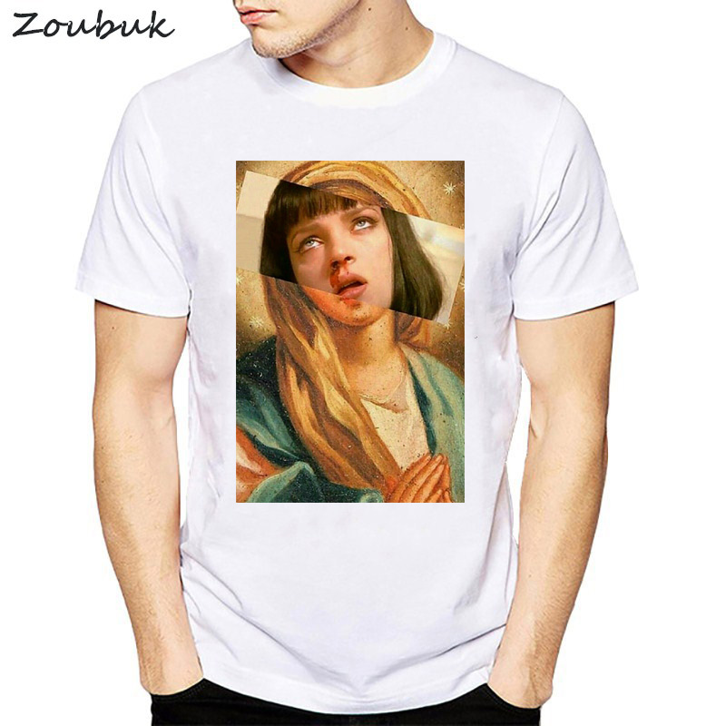 Harajuku male T-shirt Virgin Mary Mixed Pulp Fiction Mia Wallace T shirt men summer Tshirts Funny camisetas novelty top