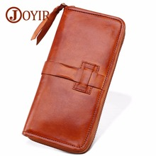 JOYIR Men Genuine Leather Wallets Large capacity Cards zipper Purse Casual Long Business Male Clutch Mens clutch bags