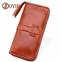 JOYIR Men Genuine Leather Wallets Large capacity Cards zipper Purse Casual Long Business Male Clutch Wallets Men's clutch bags