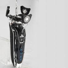 Мужская электробритва четыре головки Сухой Влажной бритвенной машины перезаряжаемый моющийся основной-Sub двойное лезвие турбо триммер для бороды