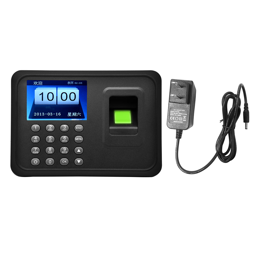 2.4'' TFT LCD Display Biometric Fingerprint Time Clock Recorder Attendance Employee Machine with USB Driver Flash US Plug