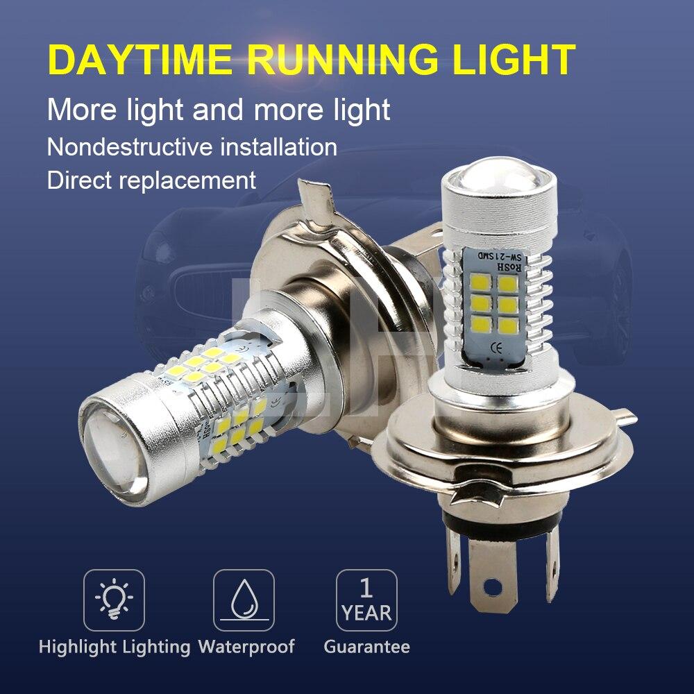 2PCS LED Bulbs High Power 21-SMD LED Daytime Running h4 Fog Light 12V 24V White 6000K