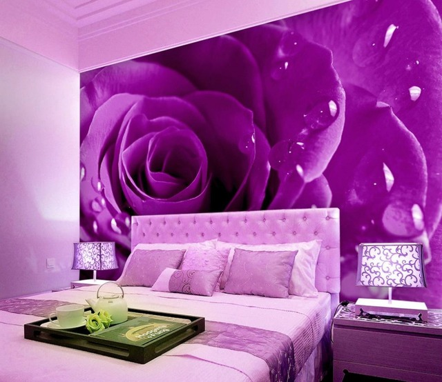 Violet Rose Belle Toile De Fond Chambre 3d Stéréoscopique Papier Peint  Décoration De La Maison 3d