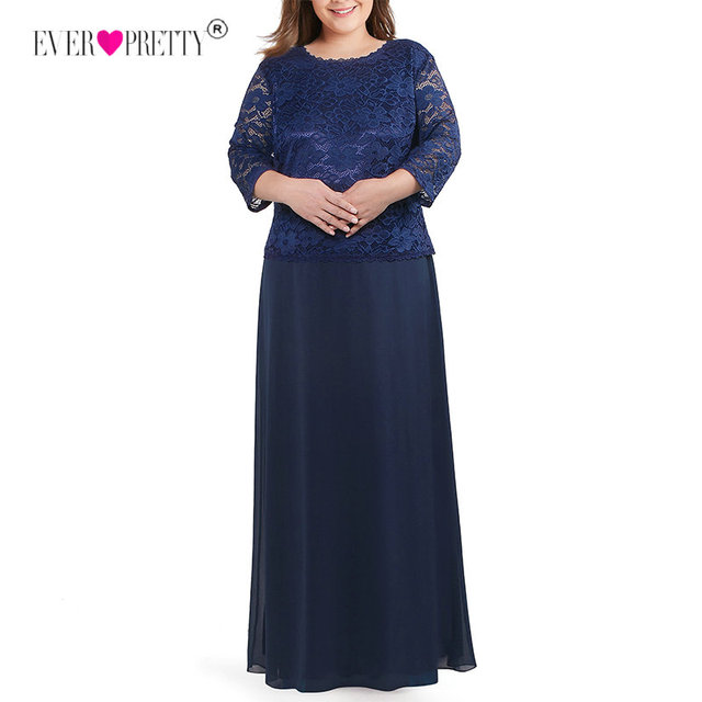 Long Plus Size Evening Dress Ever Pretty 3 4 Sleeves Lace Chiffon Formal  Party Gown EB07640NB Round Neck Autumn Robe De Soiree 30fe596d8fca
