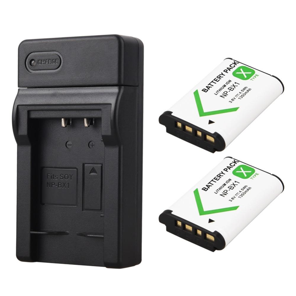 2x1350 mAh Bateria NP-BX1 NP BX1 Batterie + USB Chargeur pour Sony DSC RX1 RX100 M3 M2 RX1R GWP88 PJ240E AS15 WX350 WX300 HX300 HX400