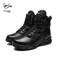 Women Military Boots Leather Lace Up Safety Shoes Waterproof Breathable Amry Desert Tactical Combat Boots Zapatos Black
