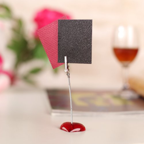 Affordable 10 x Memo Holder Red Heart-shaped Resin Base Photo Blank Note Memo Clip Tree Display leaves shaped memo sticker 100pcs