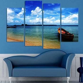 Unframe 4 Panels Sea View Picture HD Canvas Print Painting Artwork Wall Art Canvas Painting For Home Decor