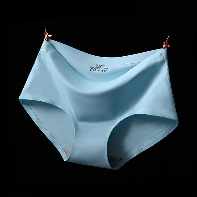 34d076c2b5f5 Seamless Womens Ice Silk Panties Women's Mid Waist Plus Size Underwear  Female Sexy Nylon Briefs S-XXL