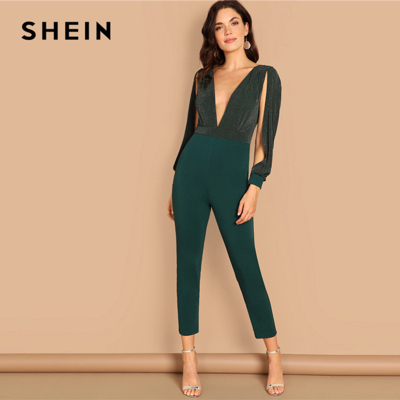 cf1087f1f0f SHEIN Going Out Party Green Deep Plunge V Neck Split Sleeve High Waist  Contrast Mesh Jumpsuit