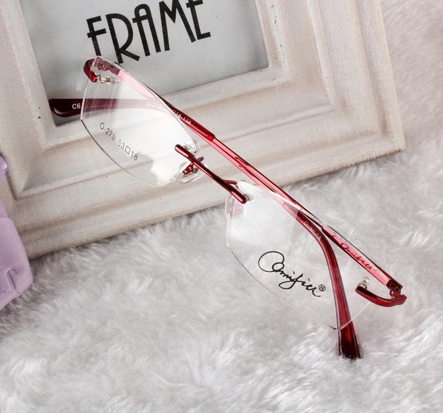Super calidad de las lentes sin rebordes titanium de la aleación enmarcan gafas de grau anteojos marcos de las mujeres