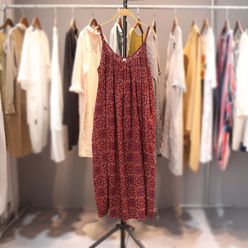 Summer Women Casual Loose Plus Size Linen Mori Girls Print Long Spaghetti Strap Dresses