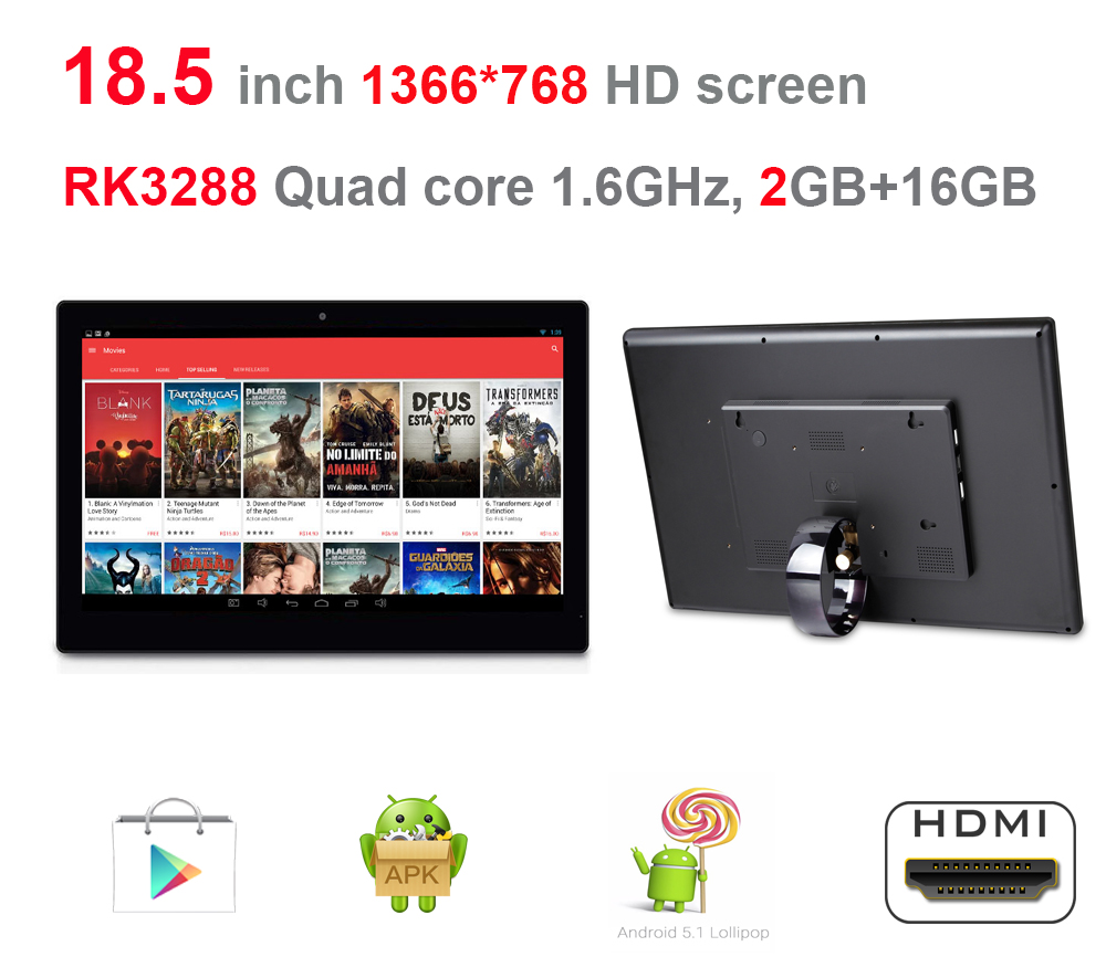 18.5 Inch Android Tablet Pc Without Touch(remote,Rockchip3288 1.8Ghz, 2GB Ddr3, 16GB Flash,Bluetooth4.0, Wifi, RJ45, Play Store)