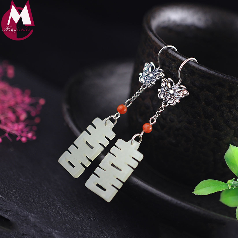 Drop Earrings For Women Natural Jade Carving Ethnic Original Design Real 925 Sterling Silver Vintage Animal Long Ear Jewelry pair of vintage alloy carving earrings for women