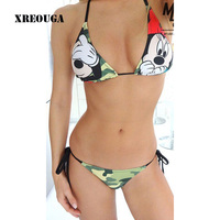 Female Character Mickey Print Swimwear Brazilian Beach Style Women Bandage Padded Swimsuit Low Waist Bikini Set