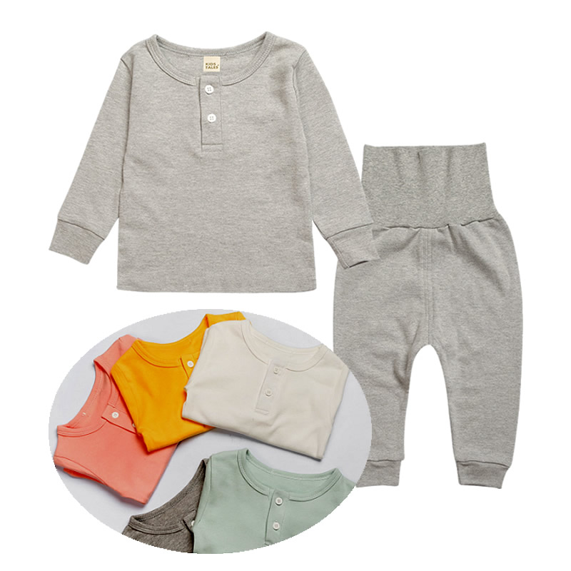 0-4Y Baby Clothing Sets Long Sleeve+High Waist Pants Baby Suit Cotton Baby Girl Clothing Set Infant Baby Boy Clothes Kid Pajamas
