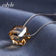 Cdyle Crystals From Swarovski Jewelry Chic Gold Mixed Color S925 Sterling Silver Necklaces Women Pendant Fashion Elegant Bijous(China)