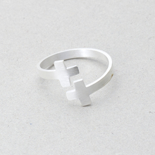 Hot Selling 2017 New Fashion Minimalism Jewelry Stainless Steel Gold Silver Color Two Cross Rings For Women Best Friend Gifts