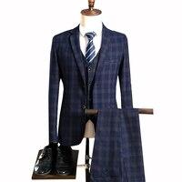 JinXuanYa custom made Mens suit Tweed Retro British style tailor wedding slim fit Blazer suits for men 3 piece, size S 5XL