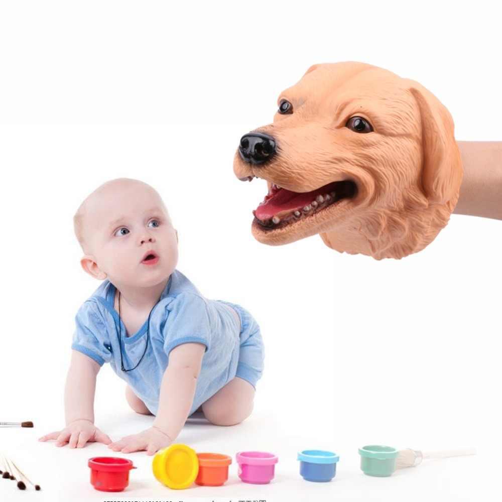 2019 Soft PVC Vinil papel de parede Cabeça de Animal Fantoche de Mão Fantoche de Mão Animal Selvagem Brinquedos Figura Crianças Luvas Presente Modelo de Brinquedo Educativo