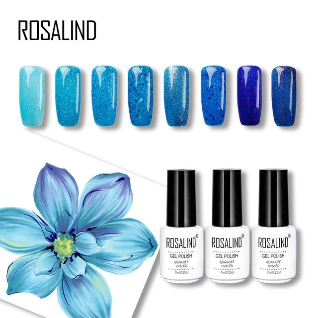 ROSALIND Gel 1S Colorful Professional Glitter Blue Color Shiny Nail Gel Polish Superior Quality Soak off UV Cheap Nail Gel 7ML