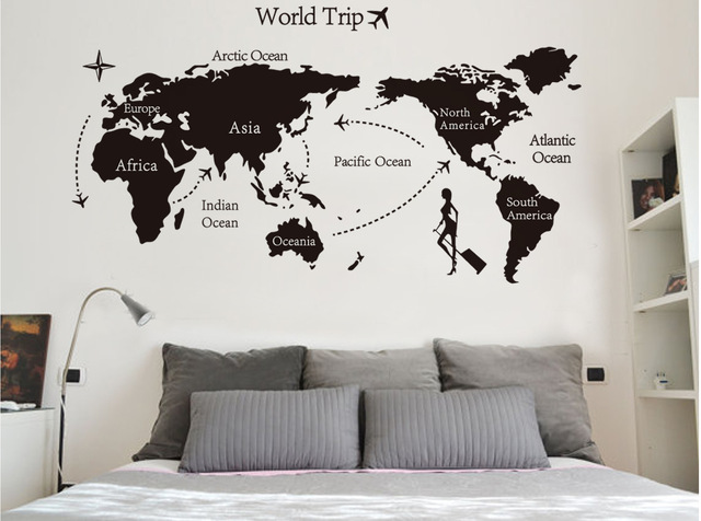 Creative Large Diy World Map Wallpaper 3d Wall Art Home Decor Wall Sticker  Vinyle Living Room