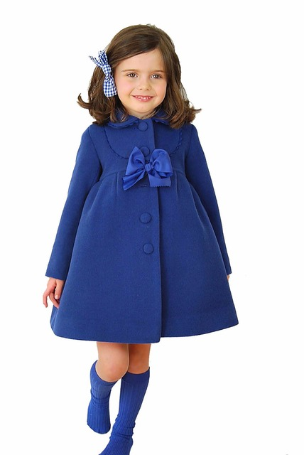 Retail 2015 Winter New Girl Coats XZ3003 Children Clothes Bowknot Wool Blends Long Length Girl Outerwear 2-7Y