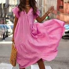 86dc0e69495d1 Lipswag 3XL الشاطئ عارضة الخامس الرقبة الصلبة فستان طويل المرأة 2019 الصيف  قصيرة الأكمام حزب فساتين