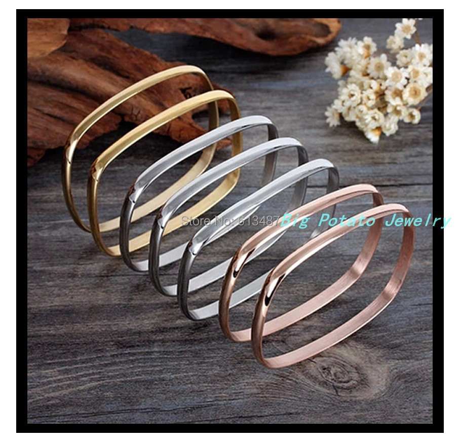 New Style 316L Stainless Steel Silver/Gold /Rose Gold 7 PCS Quadrate Women's&Girl's BanglesFashion Bracelets Gift