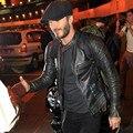 David Beckham Real Jaqueta De Couro Venda Quente Outono Inverno Moda Cor Preta dos homens Jaqueta De Couro Genuíno dos homens Desgaste Qualidade superior