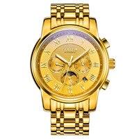 SOLLEN New Luxury Brand All Steel Men Watch Fashion Gold Watches Automatic Machinery Wristwatches relogio feminino