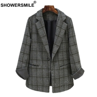 SHOWERSMILE Plaid Womens Tweed Jacket Gray Ladies Coat Office Lady Slim Fit Suit One Button Female Blazer Winter Coat Women