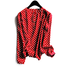 Shuchan 2019 Tops Spring and Summer New Classic Polka Dot Women Shirt Button Long-sleeved Round-collar Chiffon Blouse Wine Red недорого