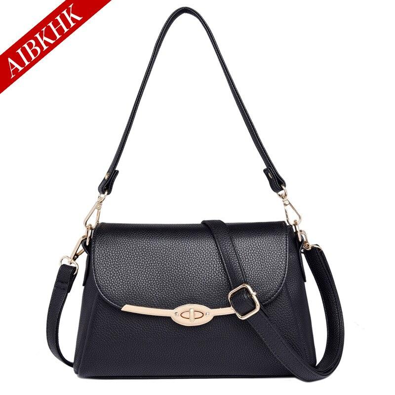 AIBKHK Genuine Leather Bags Handbags Women Luxury Designer Alligator real leather bag ladies Women Messenger Bags Shoulder Bags