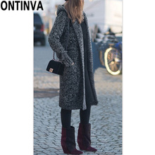 4b155f1bc83 5XL XL Black Long Cardigans Sweater with Hat Fashion Women Plus Size  Outwear Full Sleeve with ...