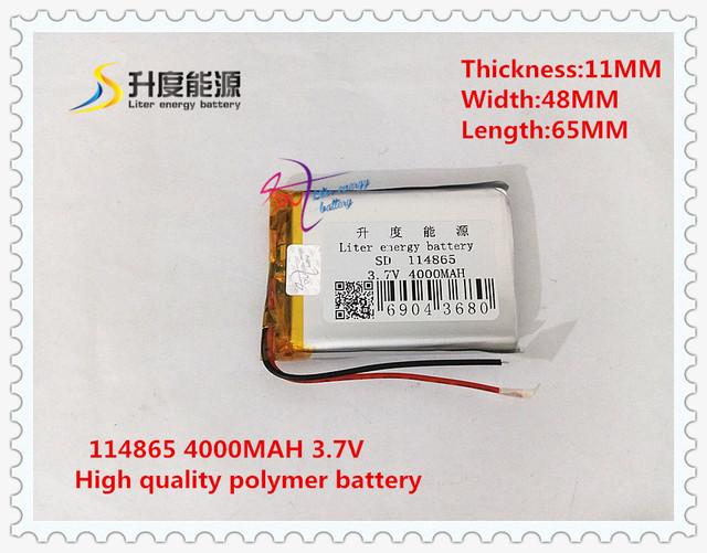 3.7 V 4000 mAH 114865 de Polímero de lítio ion/Li-ion banco de potência da bateria para tablet pc GPS MP4 MP3