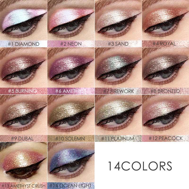 FOCALLURE 14 Colors Liquid Pigment Eyeshadow Ocean Light Waterproof Glitter Shimmer Highlighter Brighten Makeup Liquid Eyeshadow 4