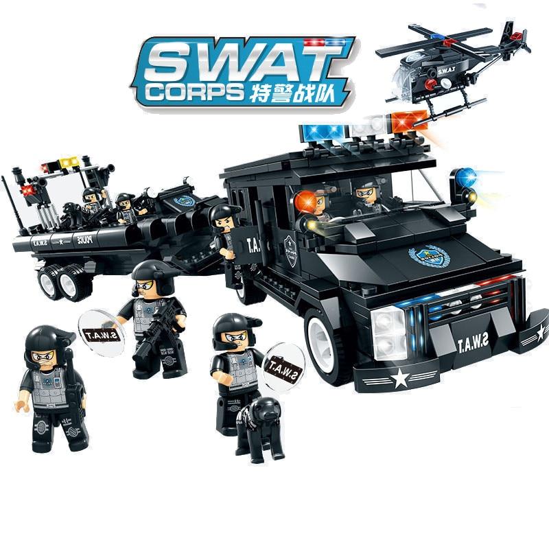 738pcs Children s educational building blocks toy Compatible city SWAT Series Wild Wolf Whale Shark Coast