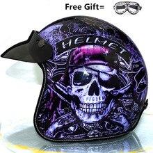цена на 2018 New arrival summer harley scooter helmet skull helmet vintage motorcycle helmets skeleton pirate prince helmet