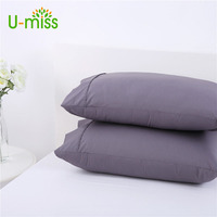 U Miss Percale Pillow Cases Protector 250 Thread Count Polycotton Pillow Sham 48x73cm 1 Pair