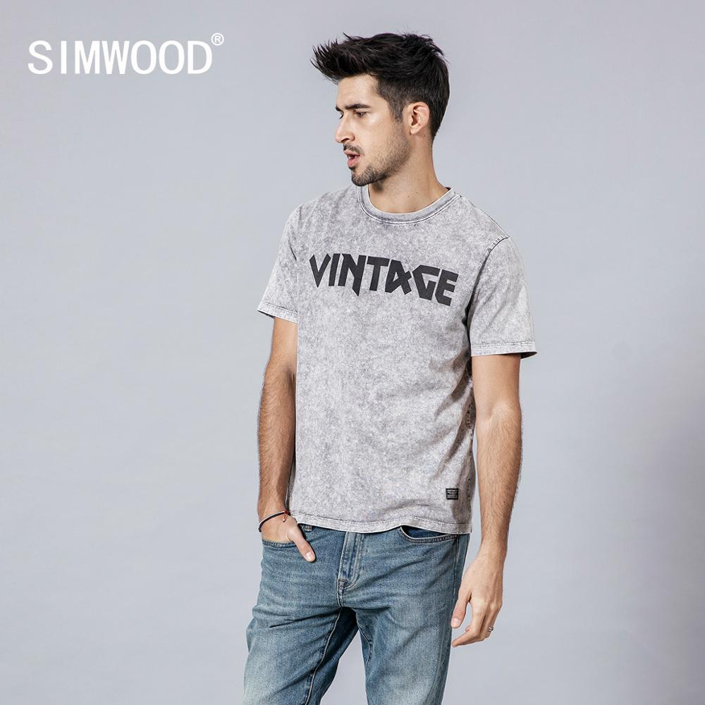 SIMWOOD 2020 Summer Snow Washed T Shirt Men Vintage High Quality Print Letter O-neck Tshirt Top Brand Clothing 190257