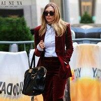 Цвет красного вина Для женщин Бизнес Костюмы из 2 предметов Тонкий дамы формальные брюки костюм офис равномерное Дизайн женский Брючный кос