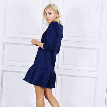 AiiaBestProducts Women Suede Casual Three Quarter Sleeve Dress 5
