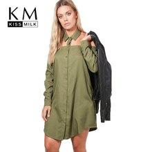 Kissmilk плюс Размеры Для женщин Армейский зеленый колье свободную рубашку платье Кнопка Пух с открытыми плечами бойфренда клуб платье Повседневное большой платье